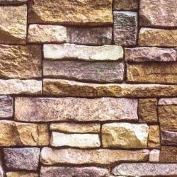 3D Каменна стена цвят шоколад и къпина 2038
